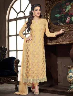 Craftliva Latest Designer Cream Straight Suit 131CAS803
