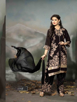 Craftliva Designer New Style Embroidered Black Straight Plazo Suits 144CAS1847