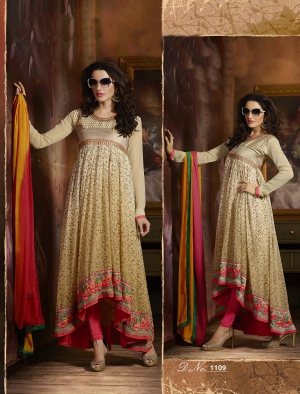 Craftliva Fabulous Latest Heavy Designer Cream And Offwhite Shaded Anarkali Suits 145CAS1109