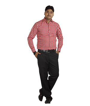 Italino Red Big Checks Regular Formal Shirt SF-ITL-1035 by Shubham Fashions