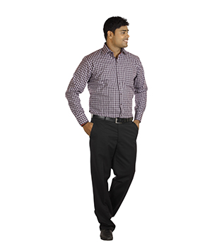 Italino Brown Small Chequered Regular Formal Shirt SF-ITL-1041 by Shubham Fashions