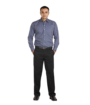 Italino Grey Stripes On Blue Slim Fit Formal Shirt SF-ILT-1055 by Shubham Fashions