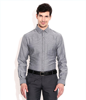 John Players Gray Slim Fit Formal Shirt