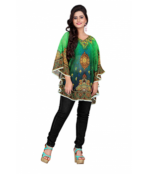 7 Colorslifestyle Multi Coloured Georgette Pooncho AAB6002POV1M