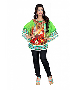 7 Colorslifestyle Multi Coloured Georgette Pooncho AAF6006POV1M