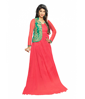 7 Colors Lifestyle Pink Coloured Embroidered Semi-Stitched Anarkali Gown AAGGN1007NNDI