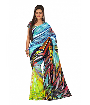 7 Colors Lifestyle Multi Coloured Georgette Abstract Digital Printed Saree AAHSR1108NADG