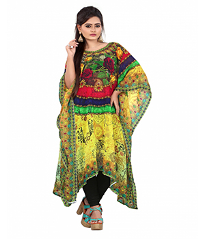 7 Colorslifestyle Multi Coloured Digital Printed Georgette Kaftan AAJ7001KFV1M