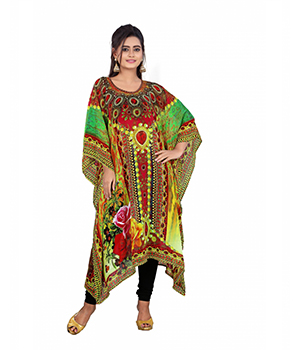 7 Colorslifestyle Multi Coloured Digital Printed Georgette Kaftan AAT7010KFV1M