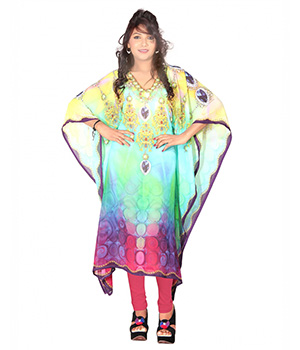 7 Colorslifestyle Multi Coloured Georgette Kaftan ABB7011KFV2M