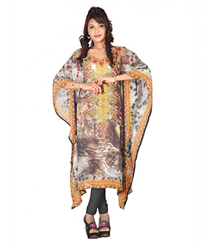 7 Colorslifestyle Multi Coloured Georgette Kaftan ABE7014KFV2M