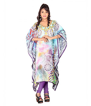 7 Colorslifestyle Multi Coloured Georgette Kaftan ABK7020KFV2M