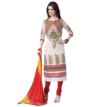 7 Colors Lifestyle Offwhite Coloured Embroidered Banarasi Jacquard Silk Semi-Stitched Dress Material ACBDR8607VRNA