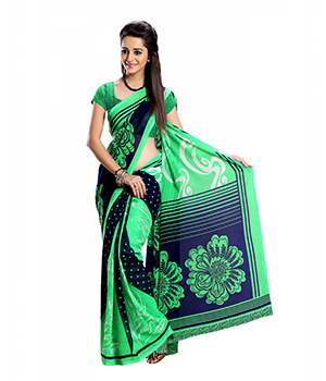 7 Colors Lifestyle Green And Blue Coloured Dani Georgette Printed Saree ACBSR1509AADA