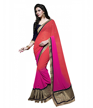7 Colors Lifestyle Pink Georgette Embroidered Saree ADKSR1352MNHN