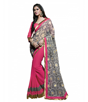 7 Colors Lifestyle Grey And Pink Georgette Embroidered Saree ADVSR1363MNHN