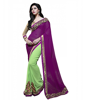 7 Colors Lifestyle Purple And Green Georgette Embroidered Saree ADWSR1364MNHN