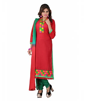 7 Colors Lifestyle Red Coloured Embroidered Cotton Semi-Stitched Dress Material ALSDR2003AIRA