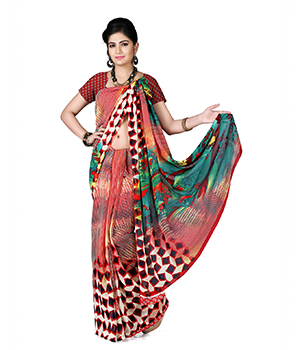 7 Colors Lifestyle Multi Coloured Dani Georgette Printed Saree BASR1005ADAV2