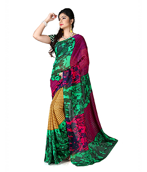 7 Colors Lifestyle Green And Pink Coloured Dani Georgette Printed Saree BGSR1008ADAV2