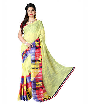 7 Colors Lifestyle Yellow And Pink Coloured Dani Georgette Printed Saree BKSR1010ADAV2