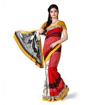 7 Colors Lifestyle Red And White Coloured Dani Georgette Printed Saree BQSR1013ADAV2