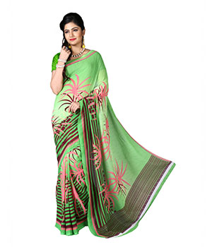 7 Colors Lifestyle Green Coloured Dani Georgette Printed Saree BXSR1016BDAV2