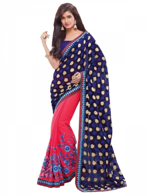 Shonaya Red And Blue Thread Work Chiffon Saree With Piece With Blouse Piece HIFAN-4002
