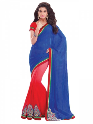 Shonaya Red And Blue Chiffon Patch Work Saree With Blouse Piece HIFAN-4012