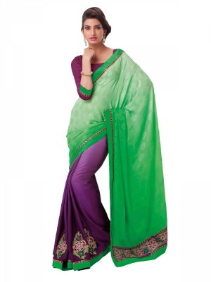 Shonaya Purple And Green Georgette Saree With Blouse Piece HIFAN-4014