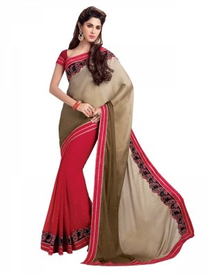 Shonaya Red And Cream Color Georgette Designer Embroidery Work Saree With Blouse Piece HIFAN-4029