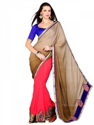 Shonaya Cream And Red Designer Chiffon Embroidery Work Sarees With Blouse Piece HIFAN-4059