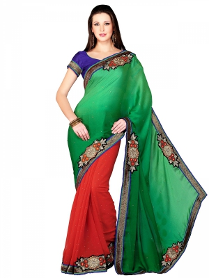 Shonaya Green And Red Designer Georgette Embroidery Work Sarees With Blouse Piece HIFAN-4061