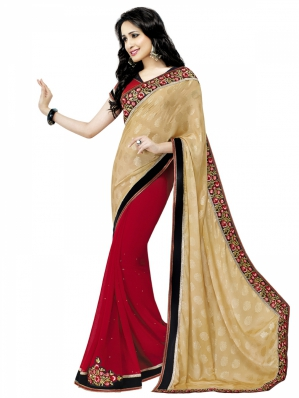 Shonaya Designer Georgette Red And Brown Saree HIFAN-4067