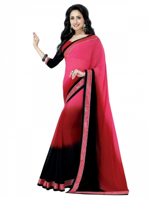 Shonaya Designer Chiffon Pink And Black Saree HIFAN-4077