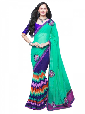 Shonaya Green And Blue Georgette Patch Work Saree With Blouse Piece HIMAG-8014