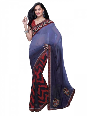 Shonaya Multicolor Georgette Embroidery Work Saree With Blouse Piece HIMAG-8018