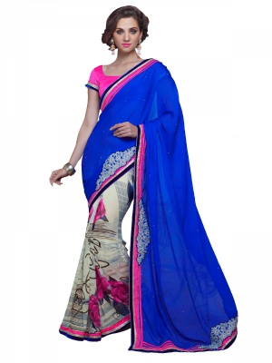 Shonaya Blue And Cream Georgette Patch Work Saree With Blouse Piece HIMAG-8021