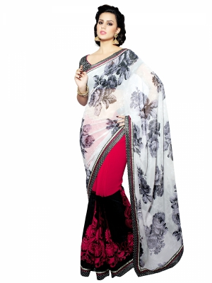 Shonaya White Designer Georgette Embroidery Work Sarees With Blouse Piece HIMAG-9019