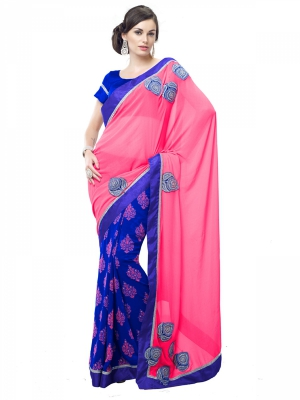 Shonaya Blue And Pink Faux Georgette Embroidered Saree With Blouse Piece HIREA-7023