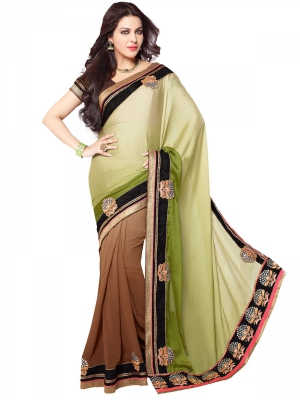 Shonaya Olive And Brown Color Georgette Heavy Embroidery Work Saree With Piece HISOLI-2129