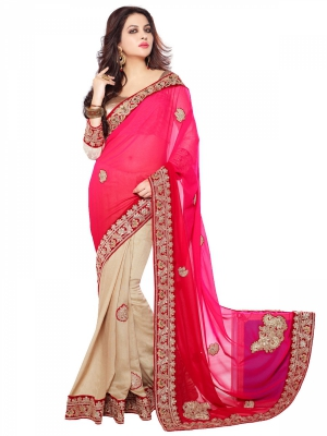 Shonaya Pink And Wheat Color Jute Georgette Heavy Embroidery Work Saree With Blouse Piece HISOLI-2133