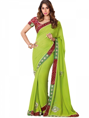 Shonaya Pretentious Green Georgette Embroidered Saree With Blouse Piece HITRA-1010