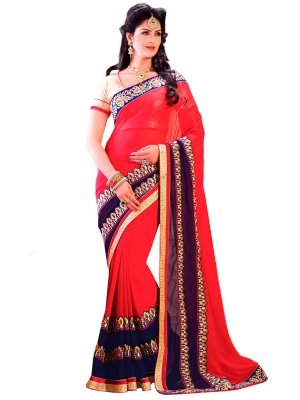 Maroon And Blue Designer Georgette Embroidery Sarees With Blouse Piece HYADH-18011