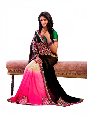 Black And Pink Designer Georgette Embroidery Sarees With Blouse Piece HYADH-18017