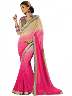 Pink And Blue Designer Georgette Embroidery Sarees With Blouse Piece MPNAZ-13040