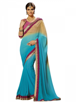 Blue And Pink Designer Georgette Embroidery Sarees With Blouse Piece MPNAZ-13044