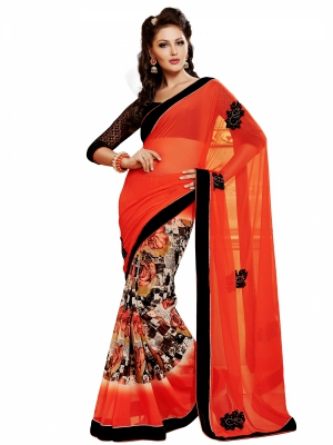 Shonaya Red Designer Georgette Embroidery Work Sarees With Blouse Piece PBANY-1117