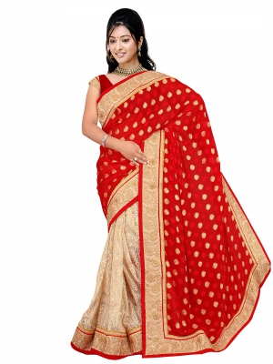 Shonaya Red And Cream Brasso Printed Sarees With Blouse Piece PBMIX-2219