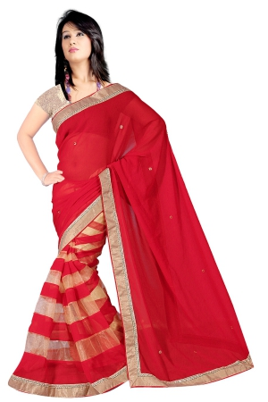 Shonaya Red Disigener Georgette Printed Lace Border Sarees With Blouse Piece PISNG-2184